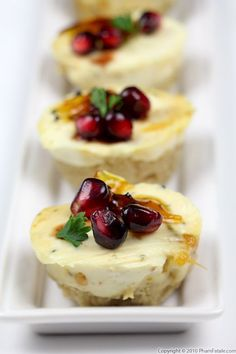 Savory Cheesecake Appetizer (goat cheese) I love how they used pomegranite seeds and parsley to make holly