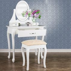 White Dressing Room Table + Stool Mirror MakeUp Drawer Bedroom Desk Model Choice in Home, Furniture & DIY, Furniture, Dressing Tables Makeup Drawer, Bedroom Desk, Dressing Room, Drawers, Stool, Vanity, Mirror, Table, Diy