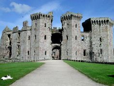 Raglan Castle, Wales in the county of Monmouthshire.  This structure, dating from the 15th century, it lasted until until the 17th century when it was compromised.  Owned by the Somersets (Troy and Badminton), it was allowed to decline and is now a romantic attraction.