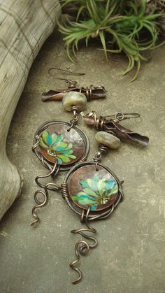 Painted Petals  Painted Copper Earrings by AlteredAlchemy on Etsy,