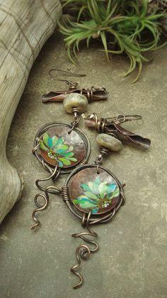 Painted Copper Earrings