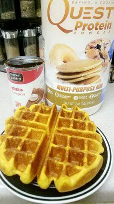 Protein Pumpkin Waffles Cup Coconut Oil can Pumpkin Puree 2 eggs Cup… Quest Protein Powder, Protein Powder Recipes, Protein Recipes, Protein Pancakes, Protein Foods, Canned Pumpkin, Pumpkin Puree, Sin Gluten, Pumpkin Waffles
