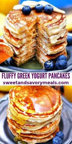Greek Yogurt Pancakes are fluffy and filling, they make you want to eat breakfast all day long! Serve them topped with fresh fruits and maple syrup! Best Greek Yogurt, Greek Yogurt Breakfast, Greek Yogurt Pancakes, Greek Yogurt Dessert, Plain Greek Yogurt, Plain Yogurt Recipes, Pancake Recipe With Yogurt, Yogurt Bowl, Breakfast Items