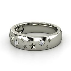 Written in the Stars Ring, Sterling Silver Ring with Diamond from Gemvara