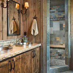 Cottage Home interior Rustic - - Home interior Design Videos Cozy Coffee Tables - - Country Home interior Design Architecture Rustic Master Bathroom, Rustic Bathroom Designs, Rustic Bathroom Decor, Rustic Bathrooms, Log Cabin Bathrooms, Slate Bathroom, Bathroom Cabinets, Bathroom Interior, Kitchen Interior