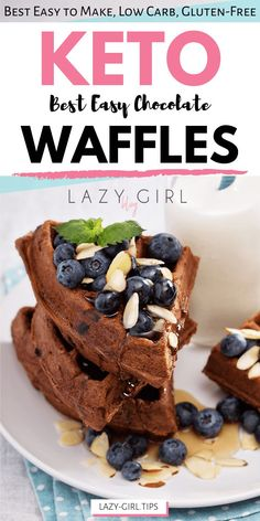 These light and fluffy Keto Chocolate Waffles are loaded with rich chocolate flavor and have a wonderfully fluffy texture, so nobody will ever guess they were low in carbs. Low Carb Desserts, Easy Desserts, Low Carb Recipes, Vegan Recipes, Dessert Recipes, Low Carb Breakfast, Breakfast Dishes, Breakfast Ideas, Breakfast Recipes