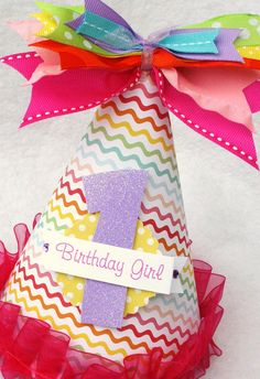 Rainbow birthday party hat in pastels and brights