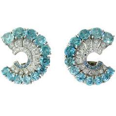 Art Deco Platinum Blue Zircon Aquamarine Diamond Earrings