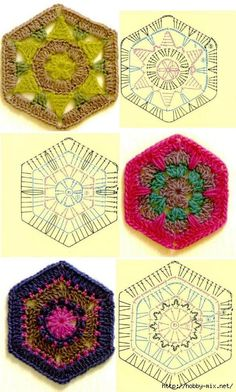 Squares de crochet com gráficos 2. Link not working but can suss out from diagram and photos
