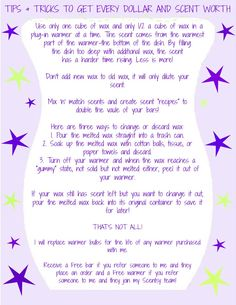 Tips & Tricks to Get Every Dollar and Scent Worth! Adapted from Kim Dotlich. =)