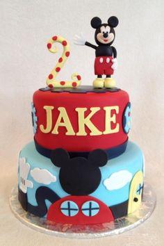 Mickey Mouse Birthday Cake Fondant cake with fondant decorations including Mickey. Bolo Do Mickey Mouse, Mickey Mouse Birthday Cake, Minnie Mouse Cake, Mickey Party, Disney Themed Cakes, Disney Cakes, 2nd Birthday Parties, Birthday Fun, Birthday Ideas