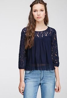 Floral Lace-Paneled Top | Forever 21 - 2000080423