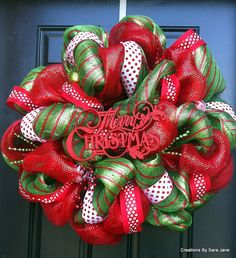 Deco Mesh Christmas Wreath - Merry Christmas Wreath - Red and Green Wreath. $80.00, via Etsy.