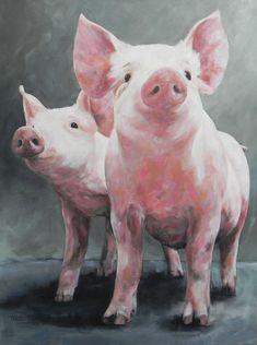 Beautiful ☺️ by Mariëlle van Eijk - Farm Animals, Cute Animals, Pig Drawing, Drawing Ideas, Pig Art, Cow Painting, Farm Art, Watercolor Animals, Art Plastique