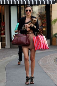 Victoria's Secret model, Miranda Kerr, shopping at V.S. ;) cute shoes, 'fit, hair, and pup.