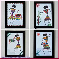 Diy art paintings how to make ideas Worli Painting, Pottery Painting, Fabric Painting, Painting Gallery, Madhubani Art, Madhubani Painting, Diy Art Projects Canvas, Indian Art Paintings, Abstract Paintings