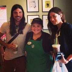 Seth Avett and his girlfriend, Jennifer, at Starbucks