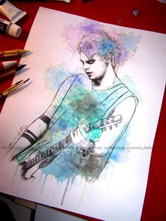 Michael Clifford-By TrueKemistry. I like this picture because this artist takes her time on her work. The tattoos are very well drawn.
