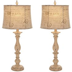 @Overstock.com - Casa Cortes French Architecture Antiqued 34-inch Table Lamp (Set of 2) - Create an old-school look with a modern twist with this elegant antique table lamp. The beige distressed base coupled with a matching linen shade adds a unique element to your room. The Parisian print on the shade also provides a hint of quirky style.  http://www.overstock.com/Home-Garden/Casa-Cortes-French-Architecture-Antiqued-34-inch-Table-Lamp-Set-of-2/7844209/product.html?CID=214117 $132.99