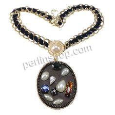 Aluminium Halskette, mit PU Leder & Nylonschnur & Glasperlen & Glas & Zinklegierung, Messing Karabinerverschluss, mit Verlängerungskettchen ...