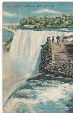 vintage linen postcard American Falls from Goat Island, Niagara Falls NY posted