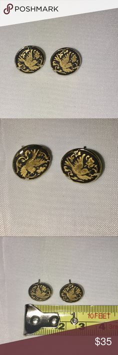 Vintage Gold Etched Blk Enamel Humming Bird Studs Dainty vintage Japanese 14k gold humming birds forever etched on these black Enamel stud earrings, Purchased in Japan C1980/FROM FAMILY ESTATE SALE. Jewelry Earrings