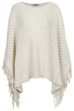 Topshop Womens **Fringe Poncho by Love - Cream on shopstyle.co.uk