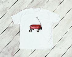 Red wagon watercolor kids tee