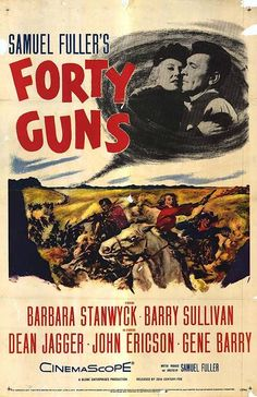 """Dragões da Violência (Forty Guns - 1957) Dir: Samuel Fuller. Barbara Stanwyck tem cara de passarinho. Mas nesse faroeste, aos 49 anos, vestida de preto sobre a sela de um cavalo branco, ela é Jessica Drummond, a mulher com 40 capangas que domina a cidade, o xerife e o coração dos homens. Só não domina seu irmão desmiolado. Quando ela conhece Griff Bonnell (Barry Sullivan), diz uma das frases mais provocativas já ouvidas num western: """"Não é você que me interessa, é sua pistola. Posso…"""