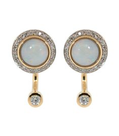 PAMELA LOVE Cabochon Opal and Diamond Gravitation Earrings. #pamelalove