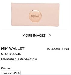 I WANT - NEW MIMCO Blossom Pink Rose Gold! MIM WALLET (2014 New Range)