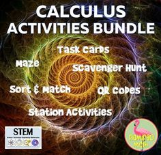 WOW! Here is a bundle of 12 great Calculus Activities for the entire course of Calculus. There is a wide variety of activities to keep your students engaged and interacting. Task Cards, Stations, QR Codes, Sort & Match, and more.
