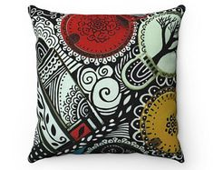 Boho pillow | Boho cushion | Indoor Artistic pillow | Artistic caushion | Black and white pillow | Designd pillow - Edit Listing - Etsy