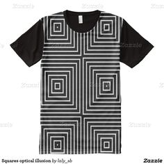 Squares optical illusion all over print shirt