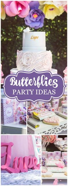 How pretty is this shabby chic butterfly first birthday party! See more party ideas at CatchMyParty.com!