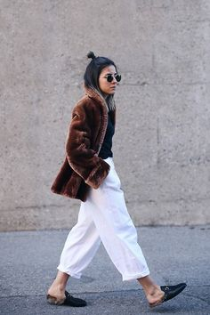 faux fur coat, gucci princetown slipper mules