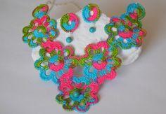 Háčkovanie náhrdelník s náušnicami Súprava háčkovanie klenoty lindapaula