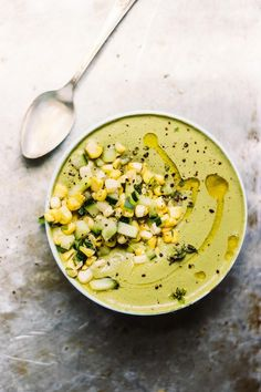 Chilled Cream of Basil Soup with Corn + Cucumber Salad Vegetarian Soup, Vegan Soups, Vegetarian Recipes, Scd Recipes, Cream Of Onion Soup, Fennel Soup, Salad Cream, Homemade Soup, Homemade Desserts