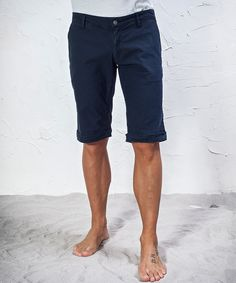 #45parallelo: blue #bermuda #shorts, dyed for a worn effect, 98% Cotton and 2% Elastane