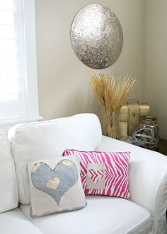 Easy DIY Valentine Pillows using stuff you probably already have-including the pillows! Tips & Tricks from Fresh Idea Studio
