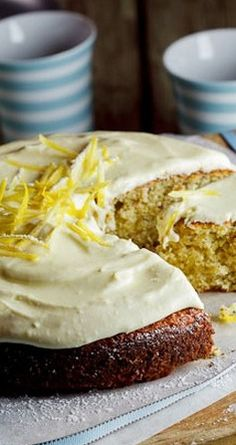 Pistachio & Lemon cake with White Chocolate Sour Cream icing - Simply Delicious