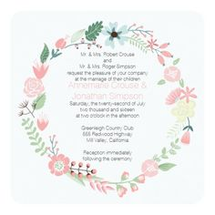 Pink And Green Floral Wreath Wedding