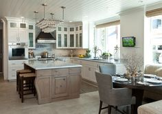 Balboa Island Beach House with Coastal Interiors. Coastal Kitchen...Opens Up To The Rest Of The Main Floor