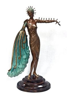 "Art Deco ERTE BRONZE SCULPTURE """"DIVA"""""