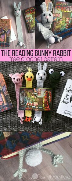 Bunny Rabbit Bookmark Crochet Pattern http://hearthookhome.com/reading-bunny-rabbit-bookmark-crochet-pattern/?utm_campaign=coschedule&utm_source=pinterest&utm_medium=Ashlea%20K%20-%20Heart%2C%20Hook%2C%20Home&utm_content=Bunny%20Rabbit%20Bookmark%20Crochet%20Pattern