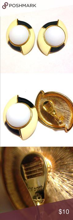 Monet Cream & Navy Enamel Clip on Super cute vintage clip on earrings Monet Jewelry Earrings