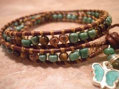 Wrapped Leather Bracelet Double Wrap Tiger Eye Green Glass Beads   eBay