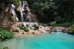 Get in touch with beautiful nature 🌿 at the multi-tiered Kuangsi Waterfalls. The cascading water and turquoise blue pools are well worth a visit. Luang Prabang, Lao New Year, Blue Pool, Royal Residence, Buddhist Temple, World Heritage Sites, Swimming Pools, Waterfalls, Natural Beauty