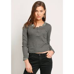 Ruche York Thermal Henley In Charcoal