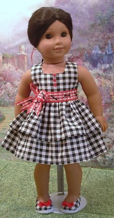 Black+Check+Picnic+Dress+with+Matching+Shoes+by+MyGirlClothingCo,+$24.00